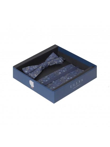 ULLYS Pajarita y pañuelo floral azul
